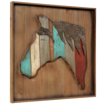 Wood Embossed Metal Horse Wall Art