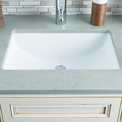 Hahn Ceramic Rectangular Undermount Bathroom Sink With Overflow Walmart Com Walmart Com
