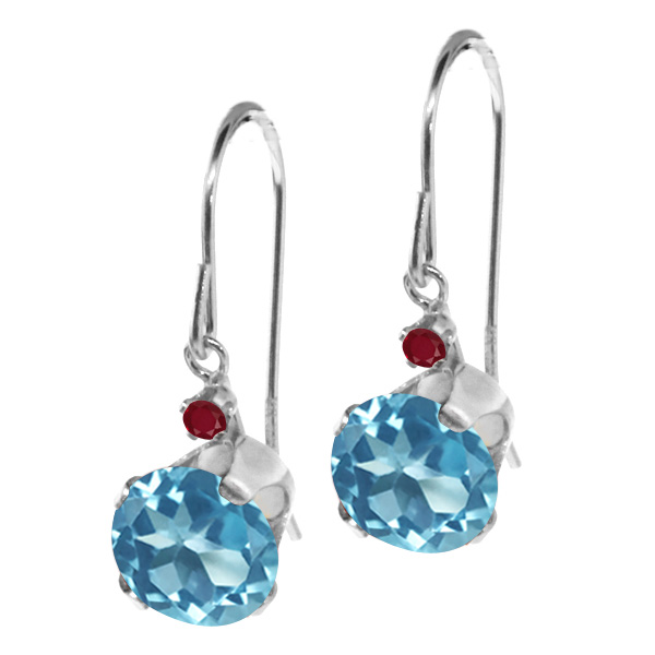 2.04 Ct Round Swiss Blue Topaz Red Ruby 14K White Gold Earrings