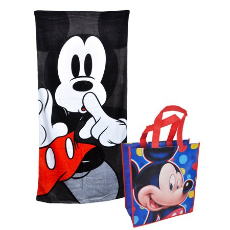 Mickey Mouse Beach Towel 58x28 Black & Large Mickey Tote Bag 2Pc