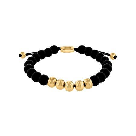 Men's Stainless Steel and Onyx Bead Bolo Bracelet ()