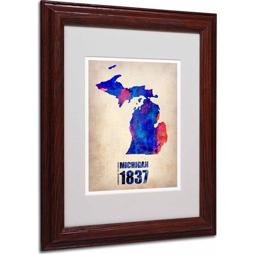 "Trademark Fine Art ""Michigan Watercolor Map"" Matted Framed Art by Naxart, Wood Frame"