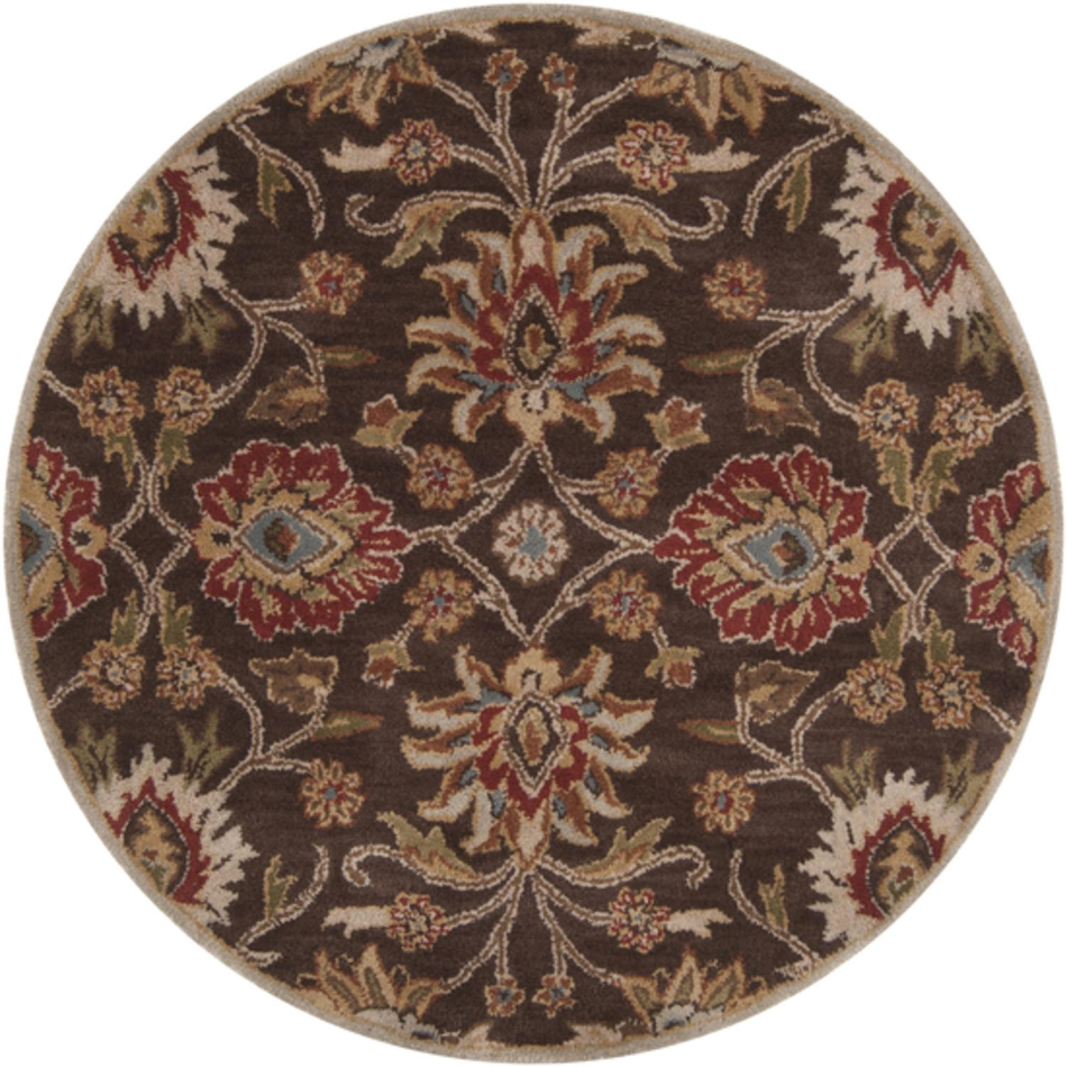 4' Octavia Khaki Green and Russet Brown Hand Tufted Round Wool Area Throw Rug