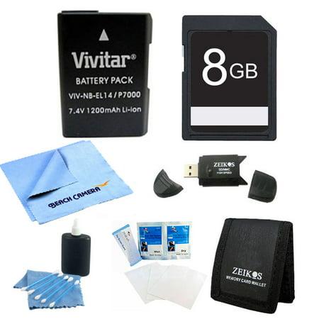 Special 8GB Card and EN-EL14 Battery Value Kit for the Nikon p7000, p7100, d3100, d5100 - Includes EN-EL14 Rechargable Li-ion Battery, Camera Bag, 8GB SD Memory Card, USB 2.0 Card Reader, Screen