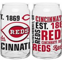 Boelter Brands MLB Set of Two 16 Ounce Spirit Glass Can Set, Cincinnati Reds