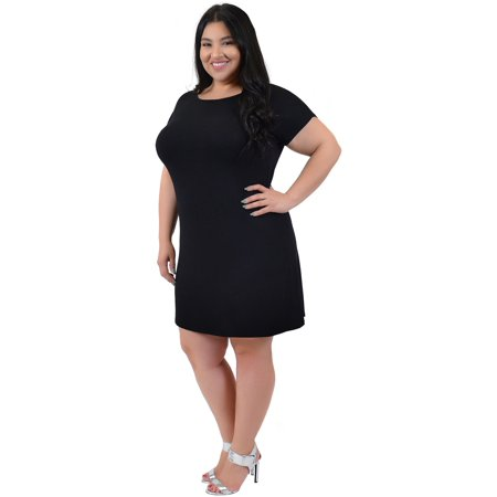 Stretch Is Comfort Plus Size Short Sleeve Boatneck Shift Dress