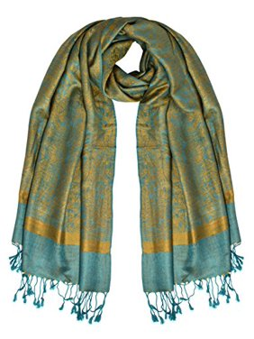 474dd087b Product Image Peach Couture Womens Paisley Jacquard Pashmina Scarf Stole Wrap  Shawl (Teal and Gold)