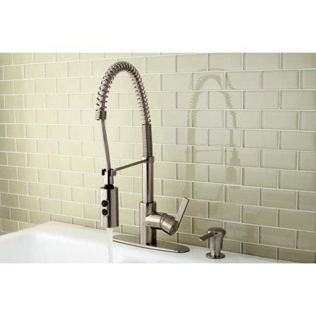 Kingston Brass Satin Nickel Spiral Pull-down Kitchen Faucet (Spiral Down Hugger)