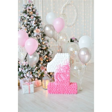 HelloDecor Polyster 5x7ft Baby 1st Birthday Backdrop Balloon Party Decoration Photography Background Christmass Tree Gifts Kid Girl Artistic Portrait Indoor Photo Shoot Studio Props Video Drop