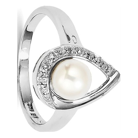 Sterling Silver Rhodium Plated Diamond and FW Cultured Pearl Ring - image 2 of 2