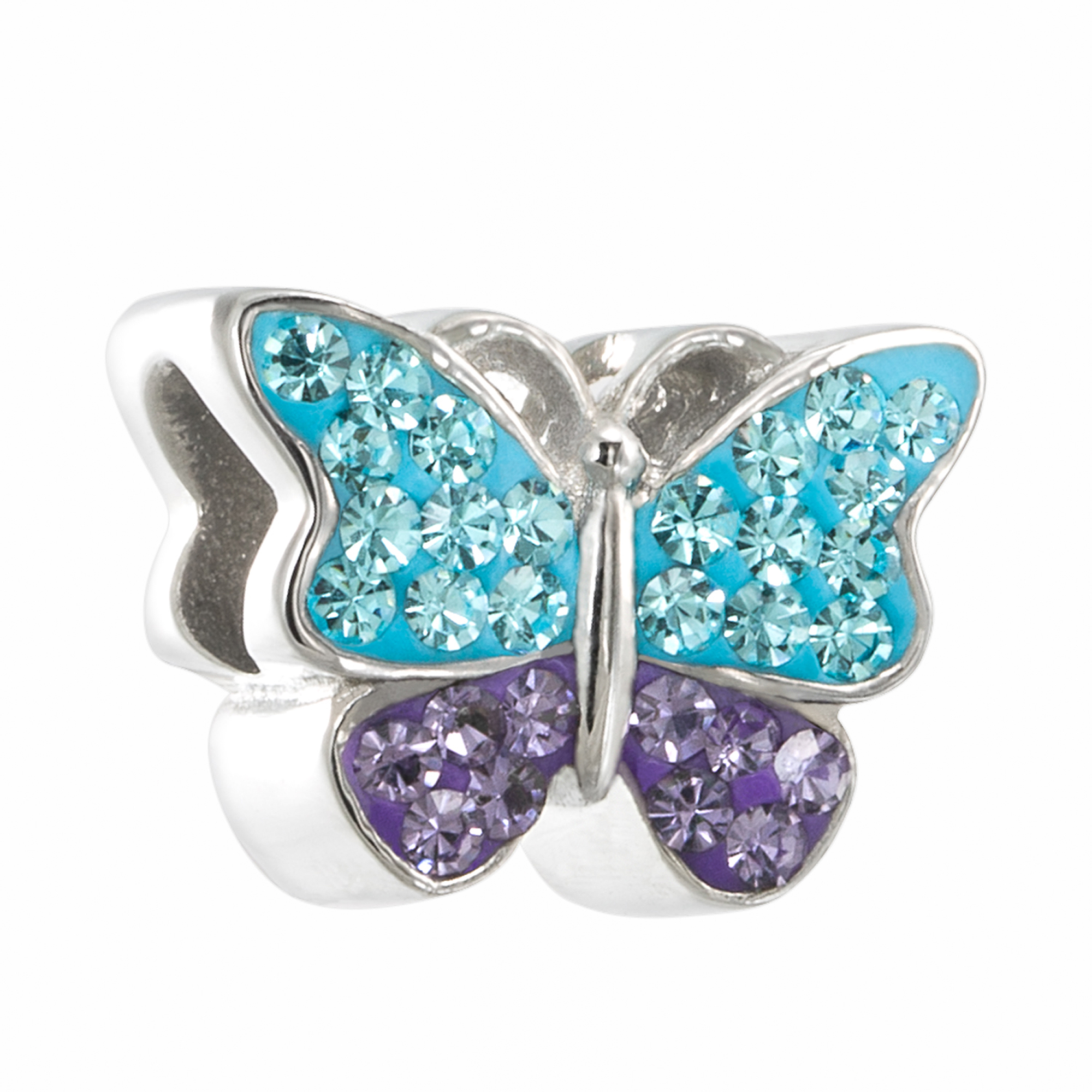 Connections from Hallmark Stainless Steel Butterfly Charm with Multi Color Crystal