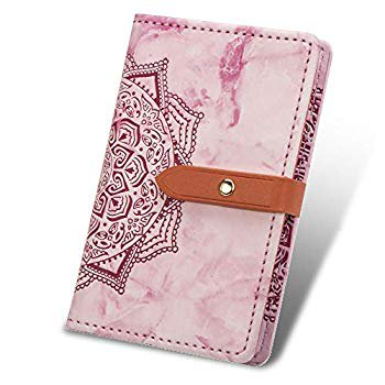 Cell Phone Marble Wallet,Credit Card Holder for Back of Phone Pocket 3M Adhesive Sticker Card Pouch Sleeve for iPhone/Samsung Galaxy/Sony/Android and Most Smartphones (Pink)