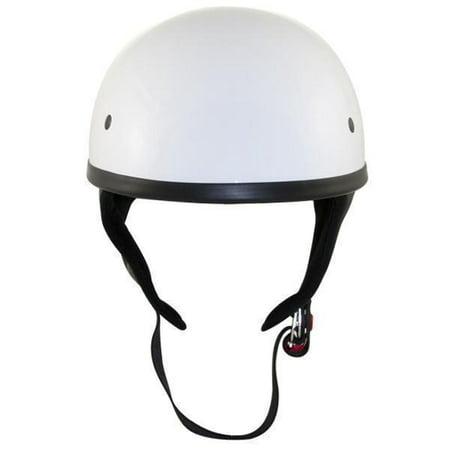 Snell Half Helmets - Outlaw T68 DOT White Glossy Motorcycle Skull Cap Half Helmet