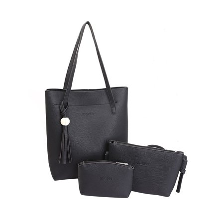 76b6a2edebbe Pixnor - 3 Pcs Women Lady PU Leather Handbag Shoulder Bag Tote Purse  Messenger Bag (Black) - Walmart.com