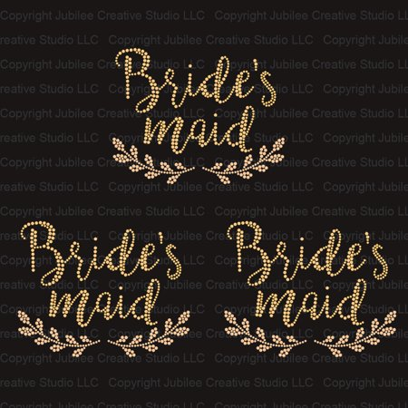 Bridesmaid Wedding Transfer (Set of 3 Bridesmaid Laurel Gold Wedding Iron On Rhinestud Transfer )
