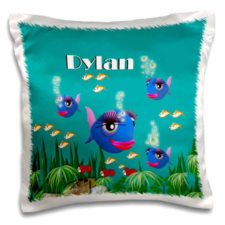 3dRose This vibrant artwork of Fish under the sea is personalized with the name Dylan - Pillow Case, 16 by