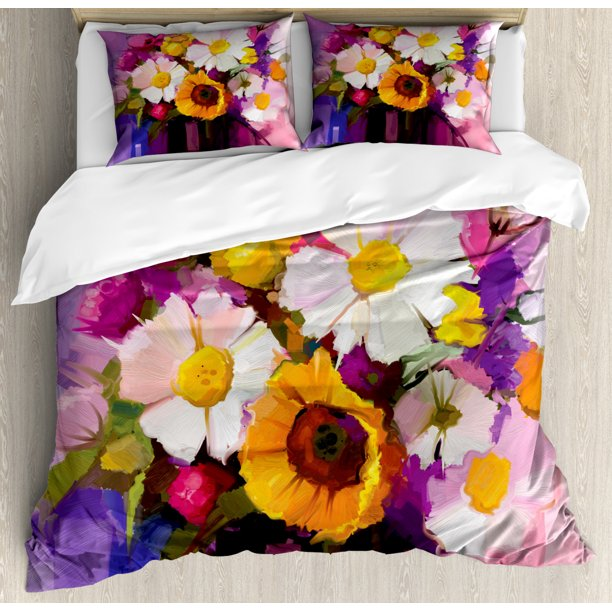 Gerber Daisy Duvet Cover Set Hand Painted Floral Gerbera Daisy Sunflower And Green Leaf Bouquet Still Life Decorative Bedding Set With Pillow Shams Multicolor By Ambesonne Walmart Com Walmart Com