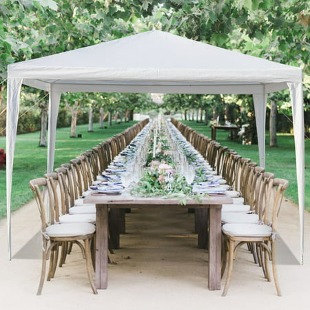 Pabby Yard 10' x 10' Tents and Canopies Outdoor Tents and Canopy, White 3 Sides Portable Waterproof Tent with Spiral Tubes Canopy Tents for Outside Party Waterproof Canopy Wedding Tent