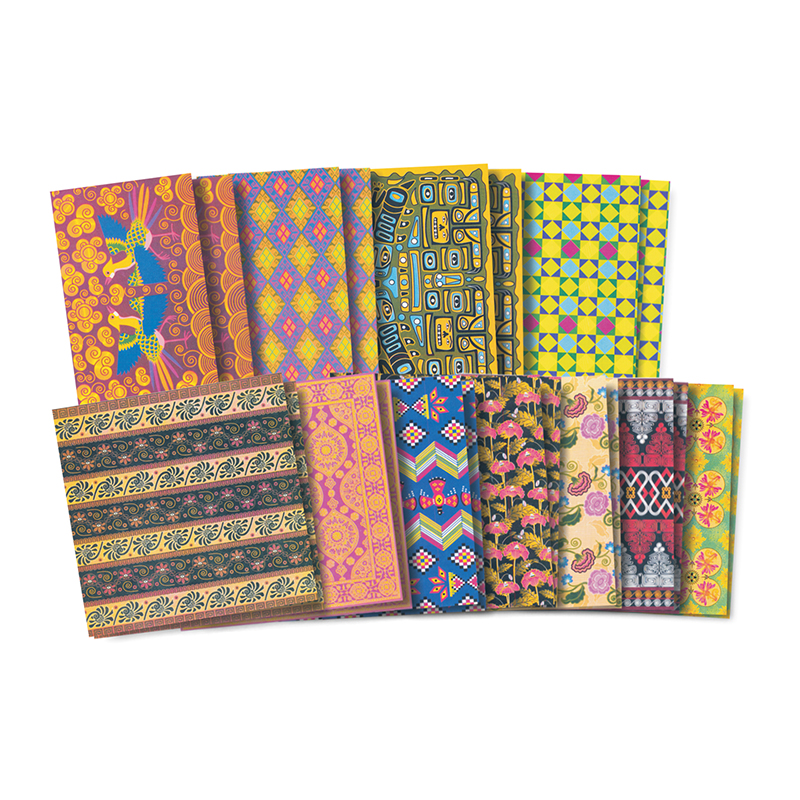 Roylco Assorted Pattern Global Village Design Paper, Assorted Sizes, 48 Sheets, Assorted Colors, Pack of 48