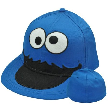Cookie Monster Hat (Sesame Street Cookie Monster Big Face Flat Bill Brim Fitted Stretch S/M Hat)