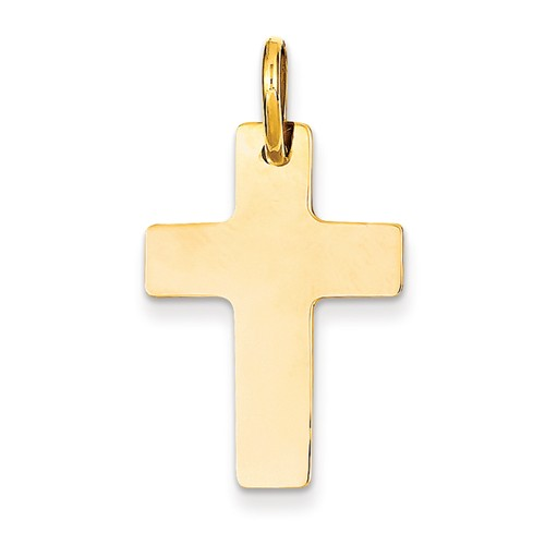 14k Yellow Gold Engravable Polished Latin Cross Pendant