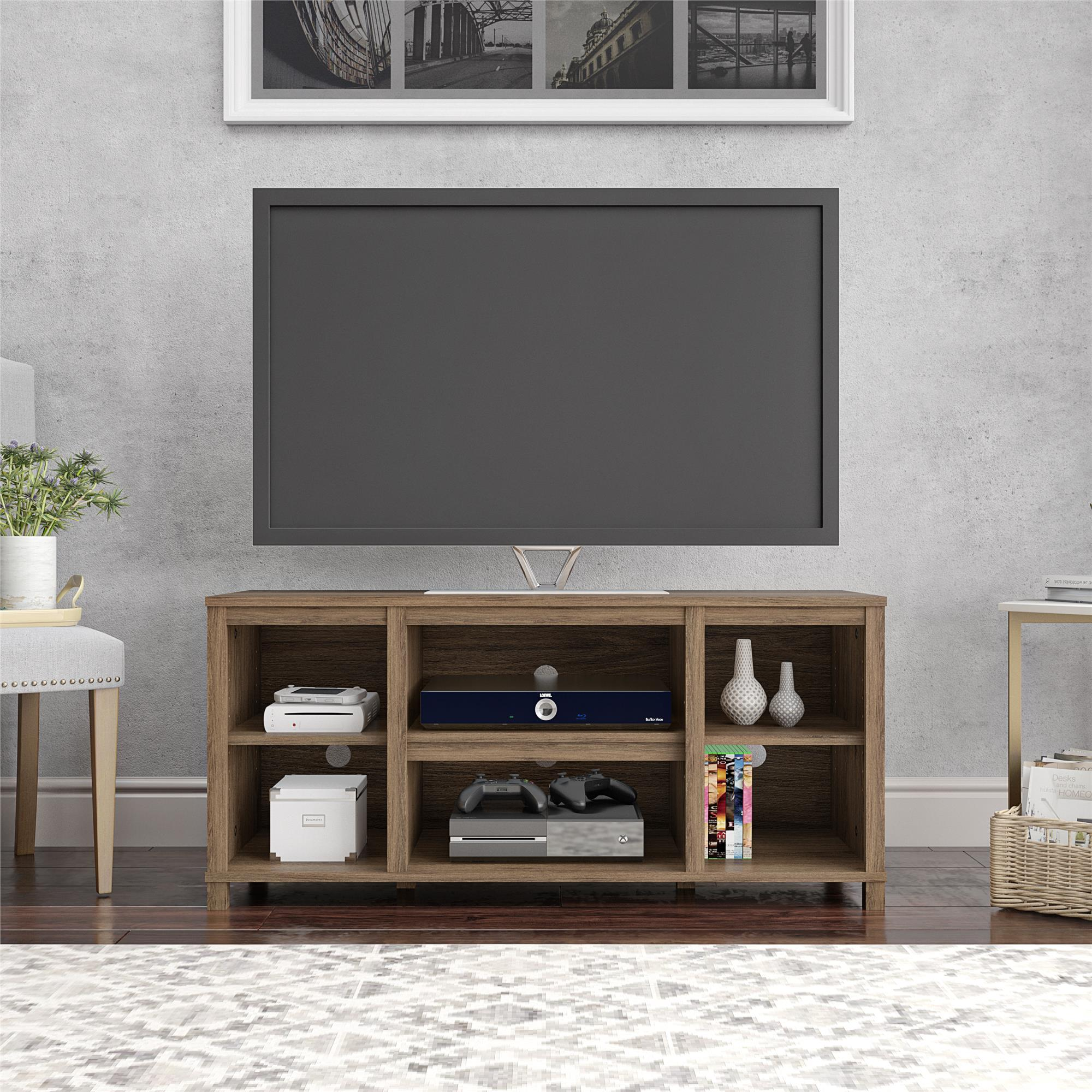 Mainstays Parsons Cubby Tv Stand For Tv S Up To 50 Canyon Walnut Walmart Com Walmart Com