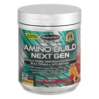 Amino Build Next Gen Energy Supplement, Formulated with BCAA Amino Acids, Betaine, Vitamin B12 & B6 for Muscle Strength & Endurance, Fruit Punch Splash, 30 Servings (282g)