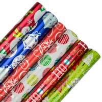 JAM Christmas Wrapping Paper, 25 Sq Ft Each, 6/Pack, Assorted Gift Wrap