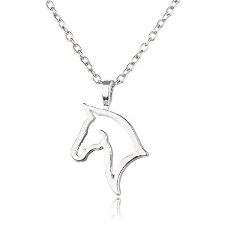 Art Attack Silvertone Horse Lover Head Outline Equestrian Pony Cowgirl Mustang Pet Animal Pendant Necklace