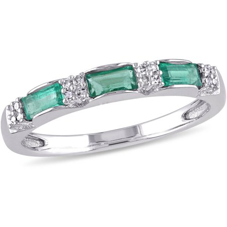 3/8 Carat T.G.W. Emerald and Diamond-Accent 10kt White Gold Three-Stone Ring