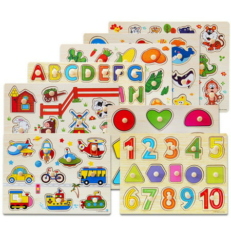 Maraso Baby Kids Letter Puzzle Wooden Animal Jigsaw Early Learning Educational Toys
