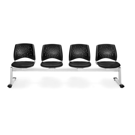 Ofminc Office Furniture 1000 Lbs Weight Capacity Starmoon Series 4-Unit  Beam Seating with 4 Vinyl Black Seats