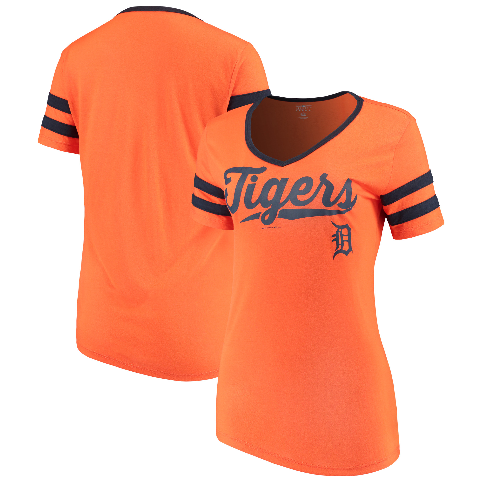 Women's New Era Orange Detroit Tigers Jersey V-Neck T-Shirt