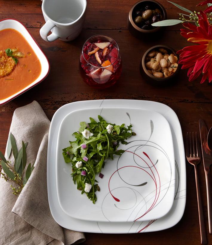 Corelle SPLENDOR Square DINNER or LUNCH PLATE *Red Gray Scoll ROMANTIC Revival