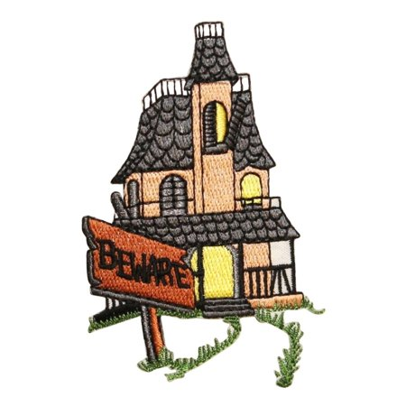 ID 0863 Haunted House Beware Patch Halloween Scary Embroidered Iron On Applique - Is Great America Halloween Haunt Scary