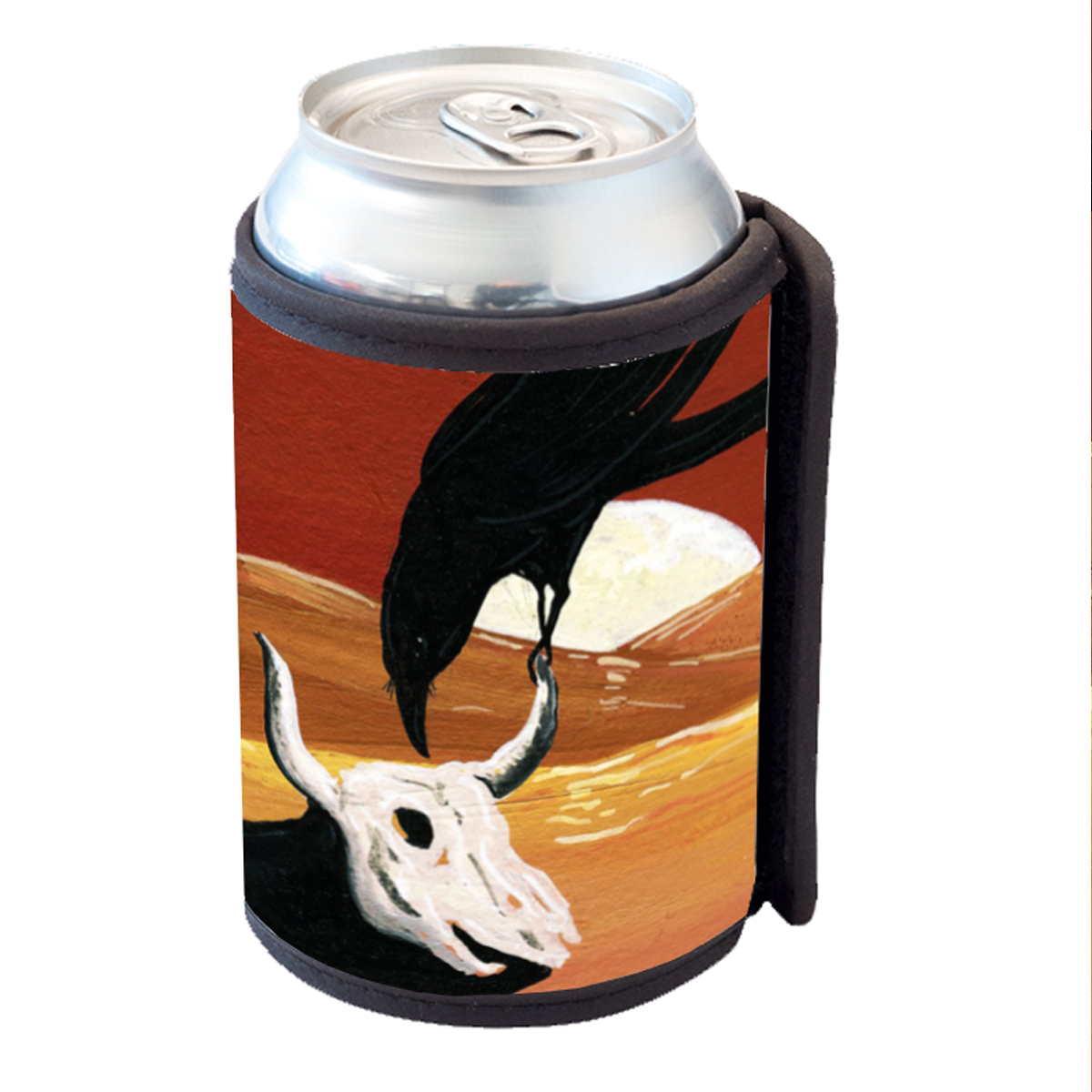 KuzmarK Insulated Drink Can Cooler Hugger - Raven & Cow Skull with Full Moon Surrealism Art by Denise Every