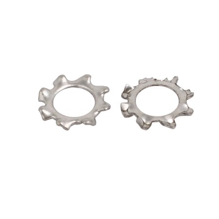 4mm Inner Dia Stainless Steel External Tooth Lock Washer Silver Tone 200pcs - image 1 of 2