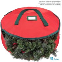 Premium 600D Polyester Wreath Storage Bag - Tear Resistant Fabric Storage Bag for Wreath Storage with Sleek Zipper Featuring Transparent Card Slot for Labeling | 30 x 30 x 8 | (Red)