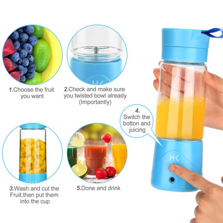 380ml Mini Portable USB Rechargeable Electric Juicer Bottle Fruit Blender Mixer with 2 Vanes (Blue)