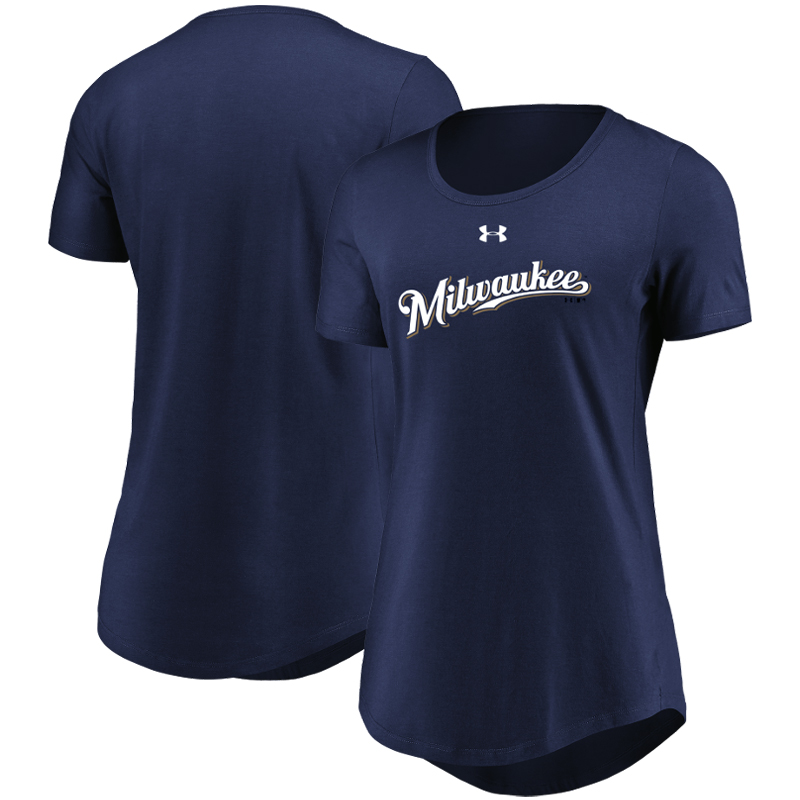 Milwaukee Brewers Under Armour Women's Passion Road Team Font Scoop Performance Tri-Blend T-Shirt - Navy