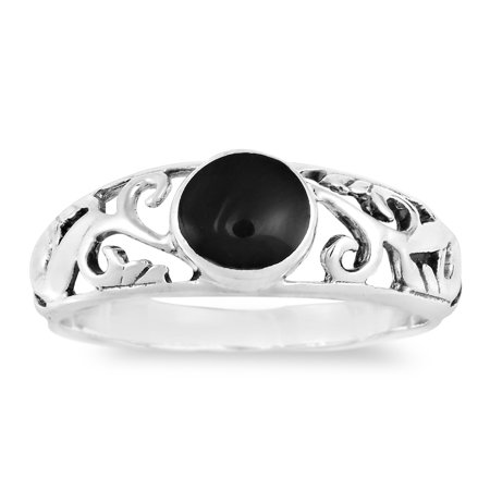 Intricate Lace Swirl Vines Round Black Onyx Sterling Silver Ring-8