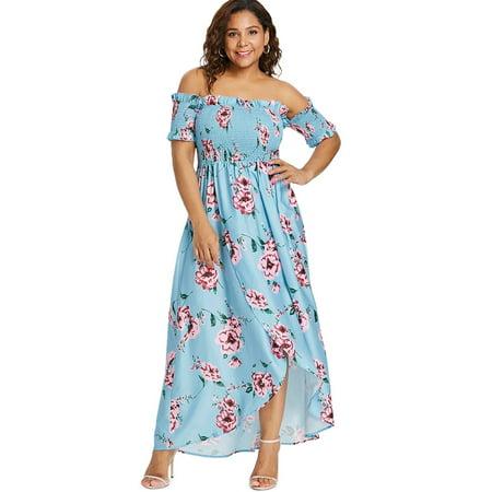 ROSEGAL - Floral Print Empire Waist Off Shoulder Short Sleeve Plus ...