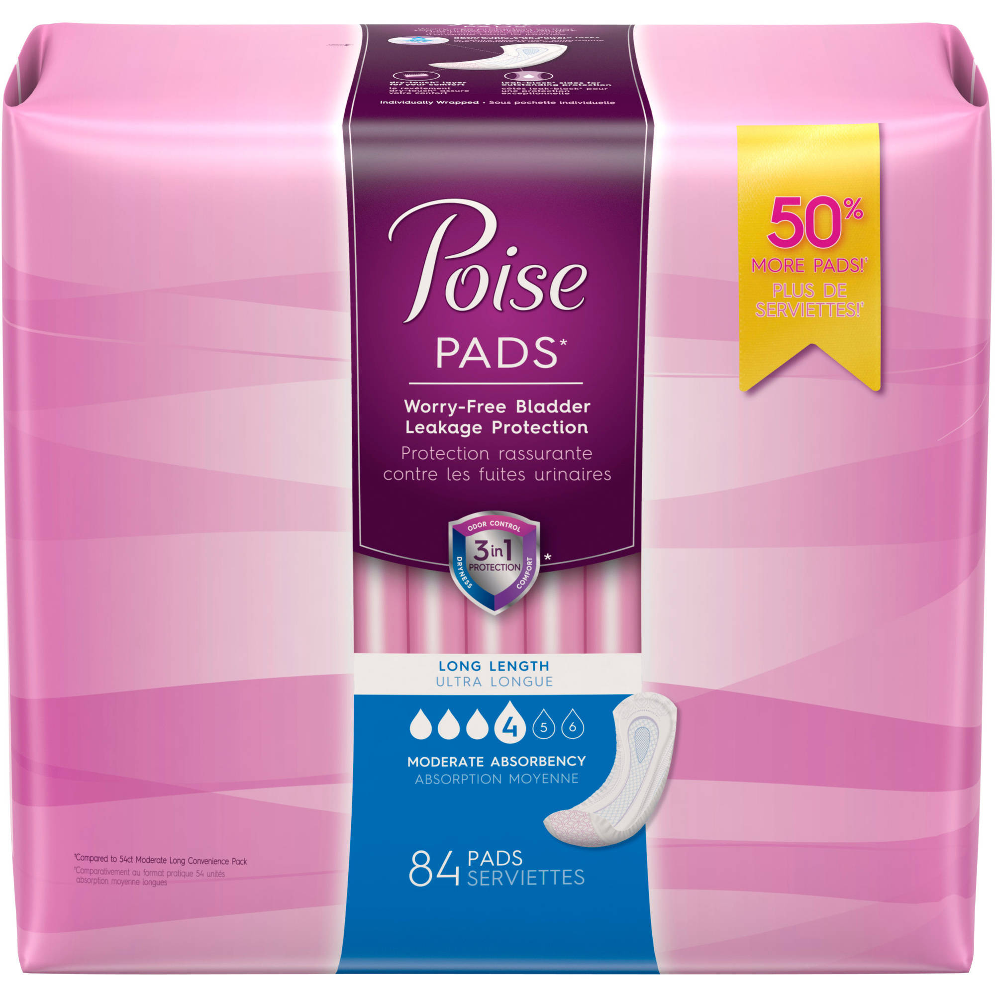 Poise Incontinence Pads, 84 count