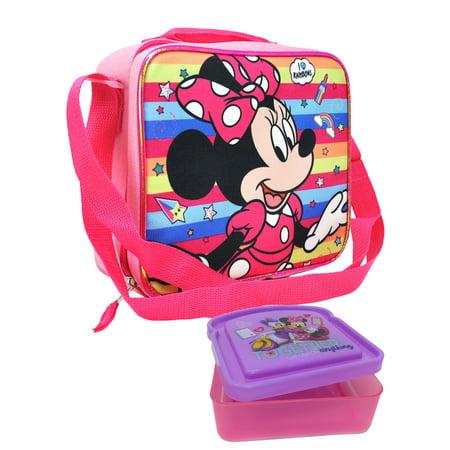 Minnie Foot (Minnie Mouse Lunch Bag w/ Shoulder Strap & Sandwich Food Container 2-Piece Set)