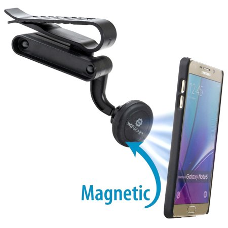 wizgear universal visor magnetic car mount holder, for cell phones with fast swift-snap tm technology, magnetic cell phone mount (visor mount) wizgear universal visor magnetic car mount holder, for cell phones and mini tablets with fast swift-snap tm technology, magnetic cell phone mount