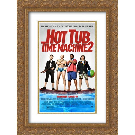 Hot Tub Time Machine 2 18x24 Double Matted Gold Ornate Framed Movie Poster Art Print