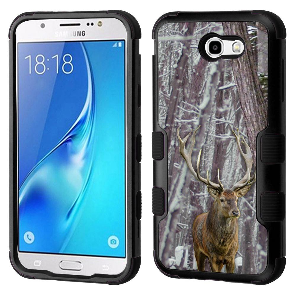 3-Layer Case for Samsung Galaxy J7 V / J7 Perx / J7 Sky Pro, OneToughShield ® Hybrid Phone Case (Black/Black) - Deer/Snow Forest