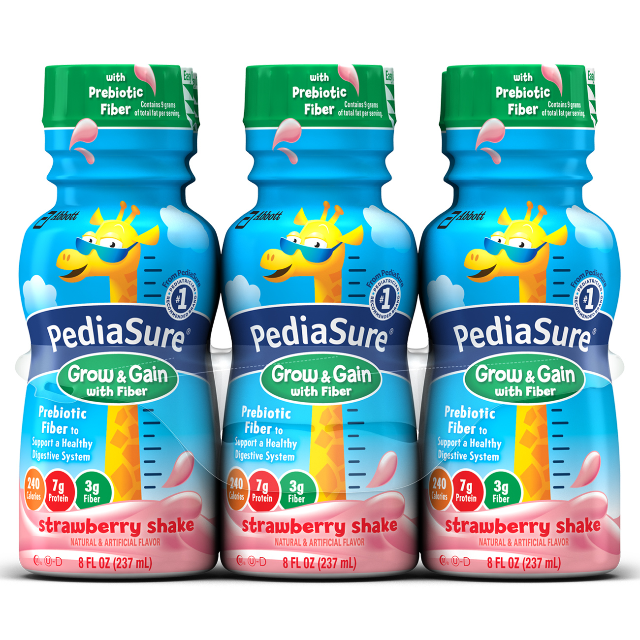 PediaSure Grow & Gain Nutrition Shake with Fiber For Kids, Strawberry, 8 fl oz, 6 Count