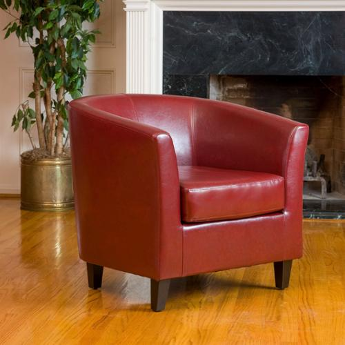 Christopher Knight Home Oxblood Red Bonded Leather Tub Club Chair by by Overstock