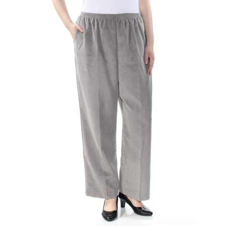 ALFRED DUNNER Womens Gray Pocketed Corduroy Wide Leg Pants Plus  Size: